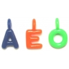 Acrylic Bead Alpha Charms 23x13mm Bright Assorted Vowels